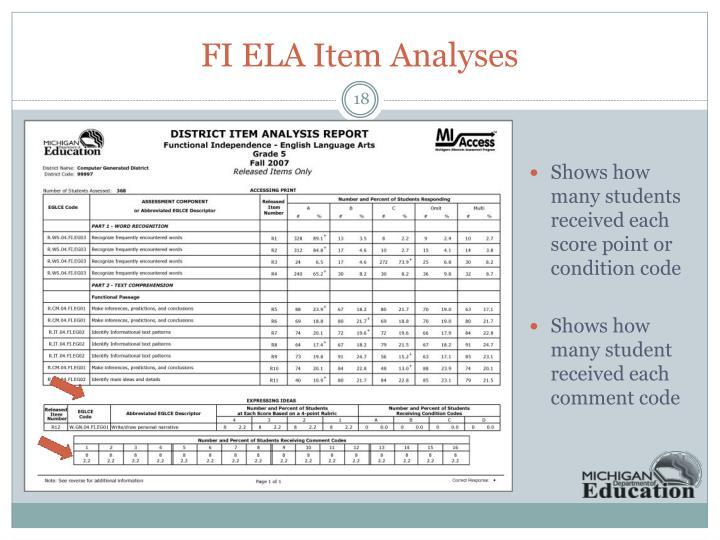 FI ELA Item Analyses