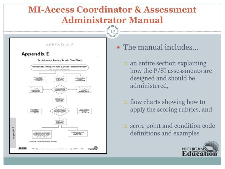 MI-Access Coordinator & Assessment Administrator Manual