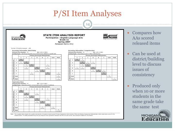 P/SI Item Analyses