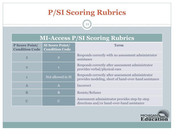 P/SI Scoring Rubrics