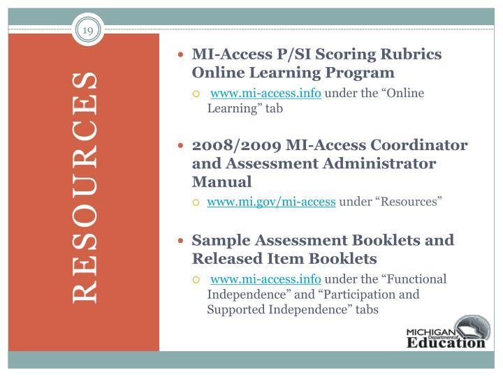 MI-Access P/SI Scoring Rubrics Online Learning Program