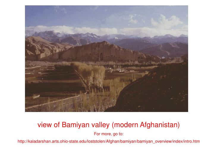 view of Bamiyan valley (modern Afghanistan)