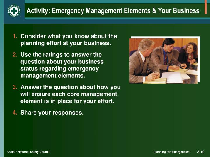 Activity: Emergency Management Elements & Your Business