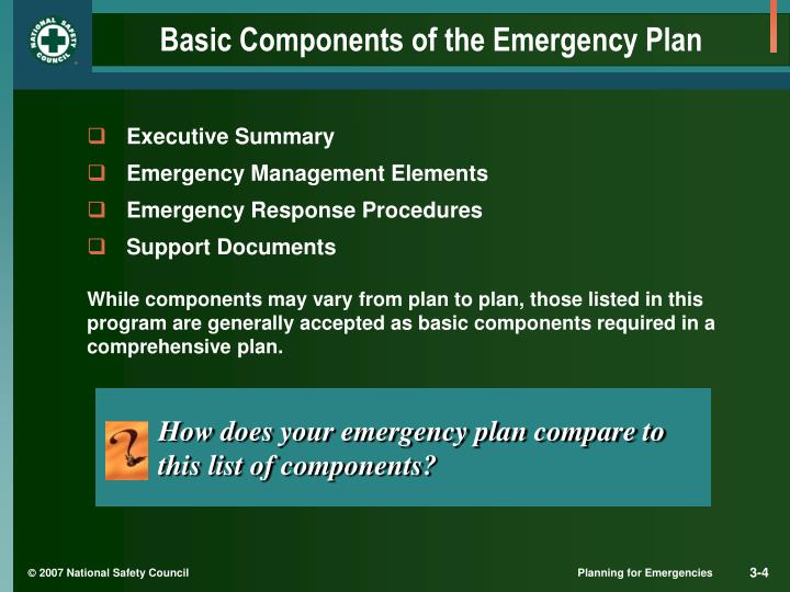 Basic Components of the Emergency Plan