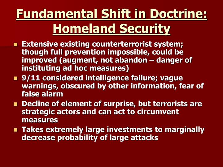 Fundamental Shift in Doctrine: Homeland Security