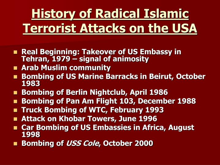 History of radical islamic terrorist attacks on the usa
