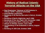 history of radical islamic terrorist attacks on the usa