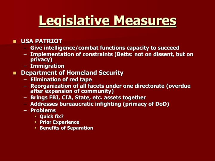 Legislative Measures