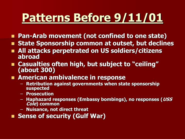 Patterns before 9 11 01