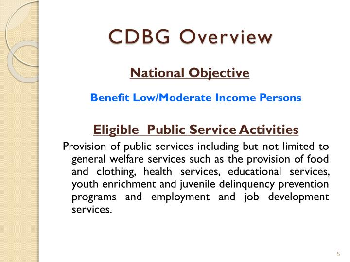 CDBG Overview