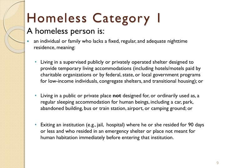 Homeless Category 1