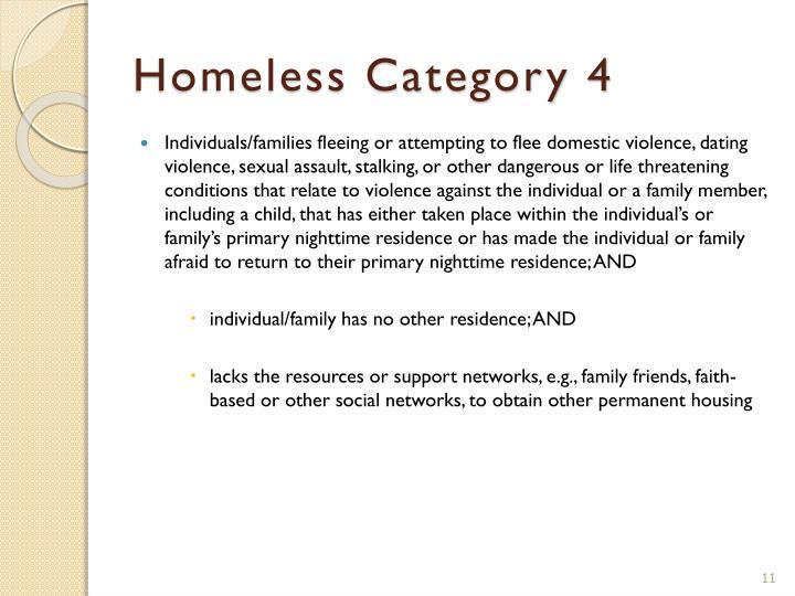 Homeless Category 4