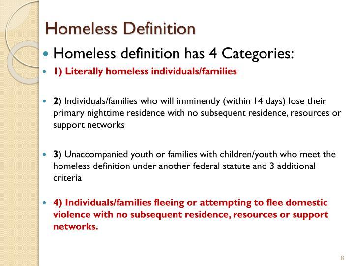 Homeless Definition