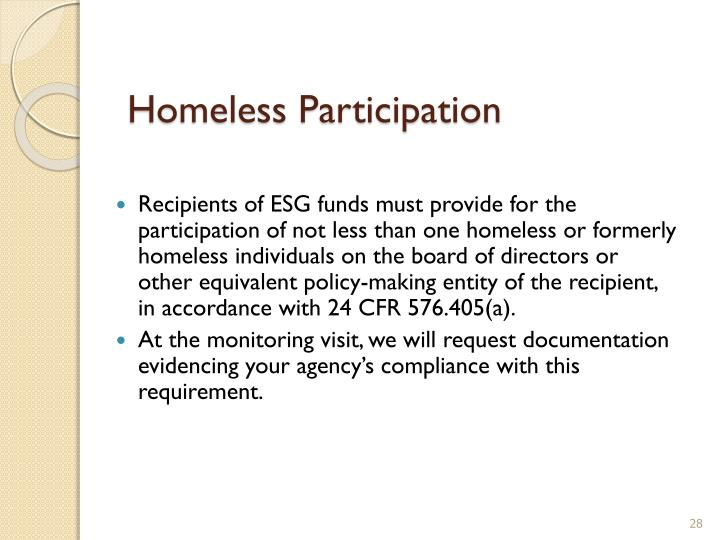 Homeless Participation