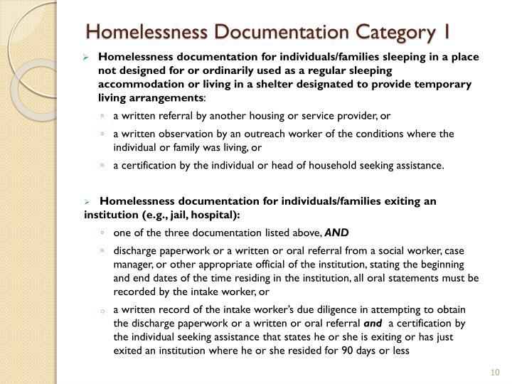 Homelessness Documentation Category 1