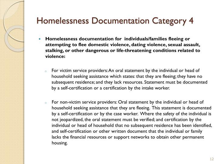 Homelessness Documentation Category 4