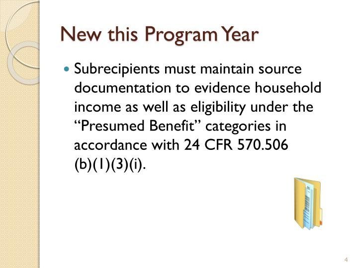 New this Program Year