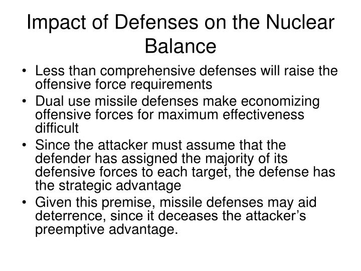 Impact of Defenses on the Nuclear Balance