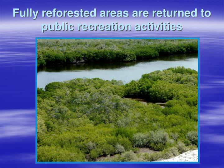 Fully reforested areas are returned to public recreation activities
