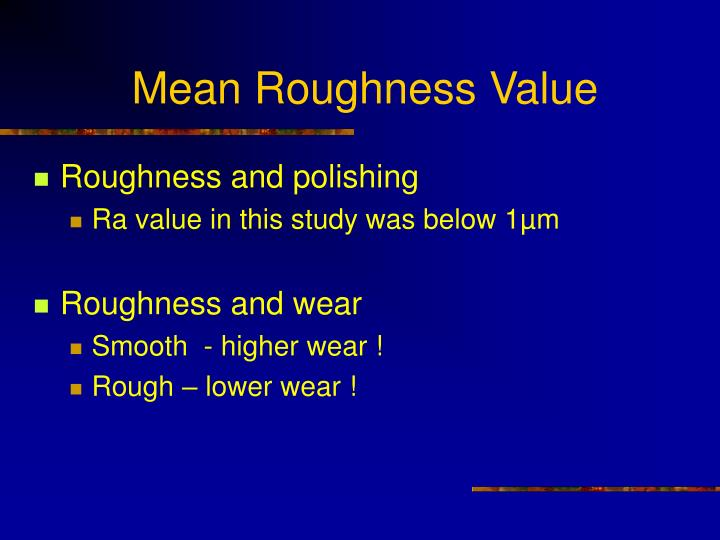 Mean Roughness Value