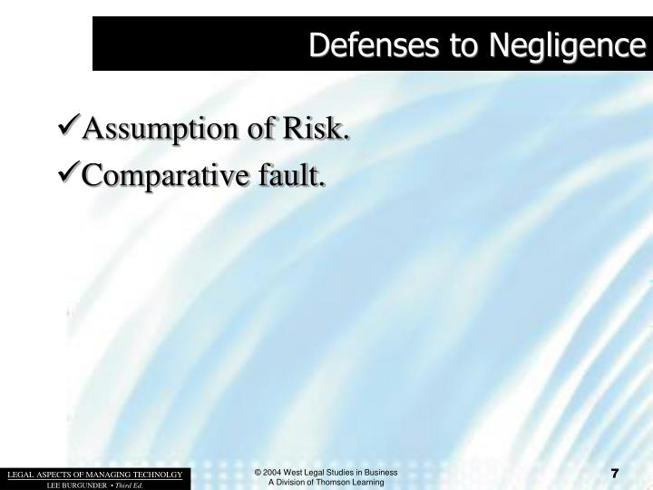 Defenses to Negligence