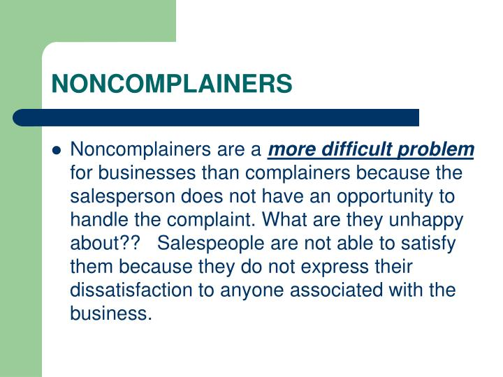 NONCOMPLAINERS
