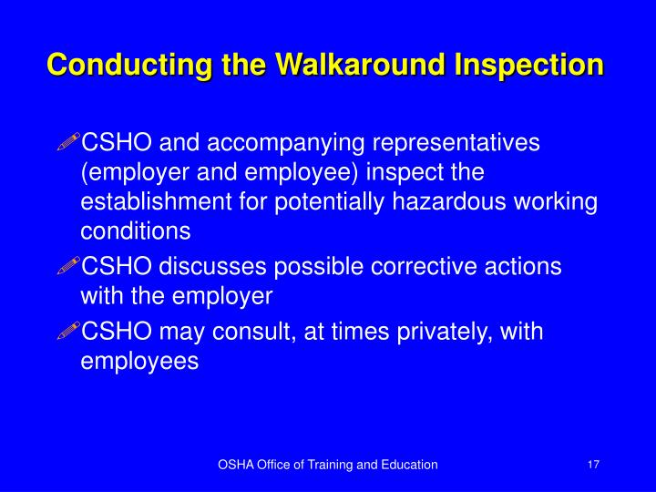Conducting the Walkaround Inspection