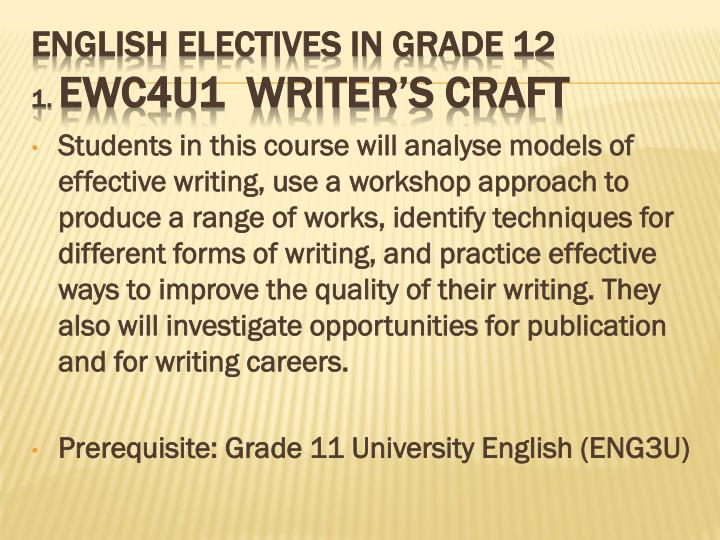 English electives in grade 12 1 ewc4u1 writer s craft