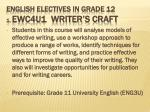 english electives in grade 12 1 ewc4u1 writer s craft