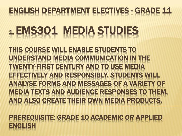 ENGLISH DEPARTMENT ELECTIVES - Grade 11
