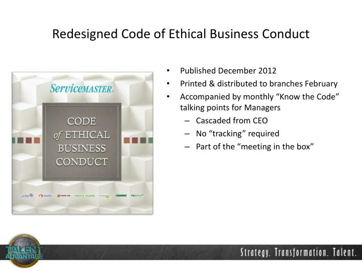 Redesigned Code of Ethical Business Conduct