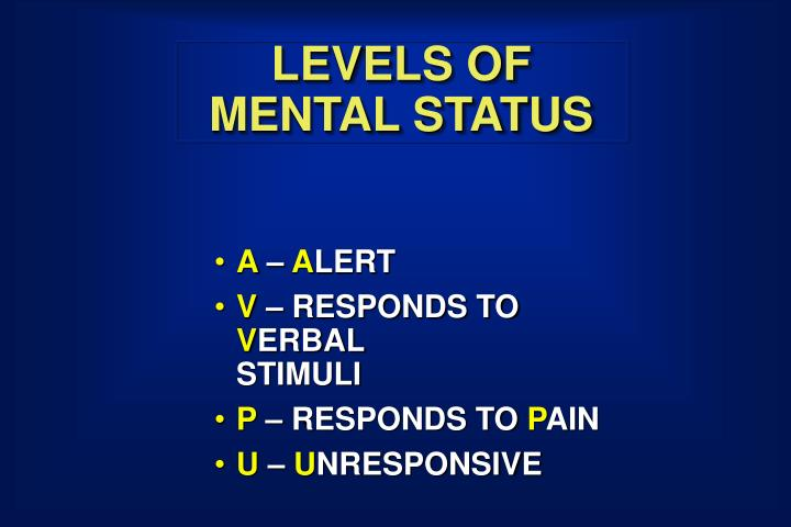LEVELS OF MENTAL STATUS