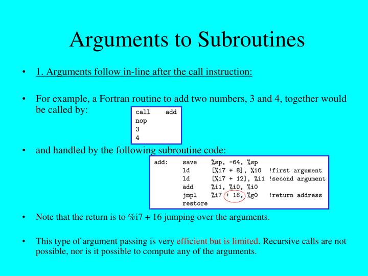 Arguments to Subroutines