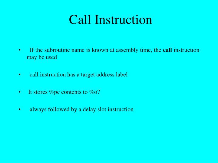 Call Instruction