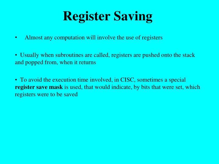Register Saving