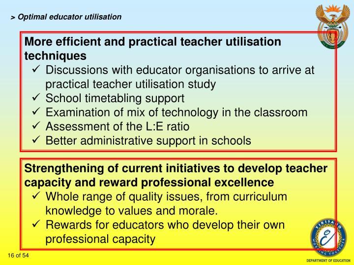 > Optimal educator utilisation