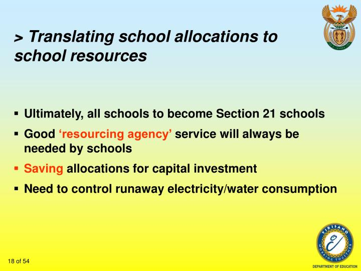 > Translating school allocations to school resources
