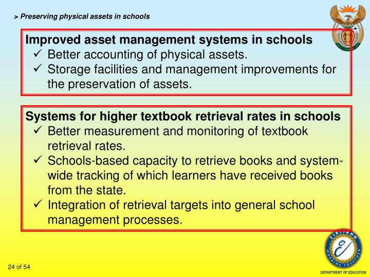 > Preserving physical assets in schools