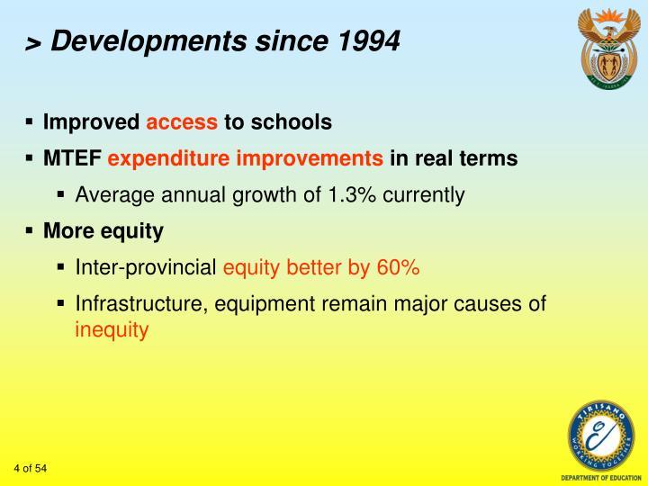 > Developments since 1994