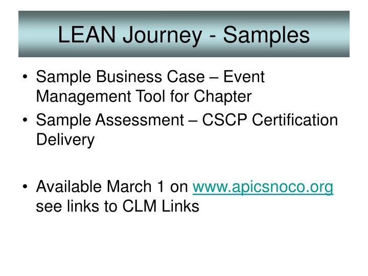 Lean journey samples
