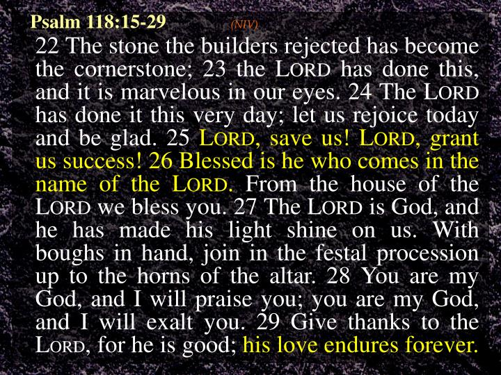 Psalm 118:15-29