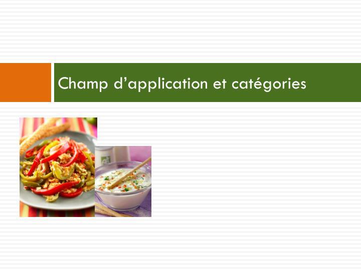 Champ d'application et catégories