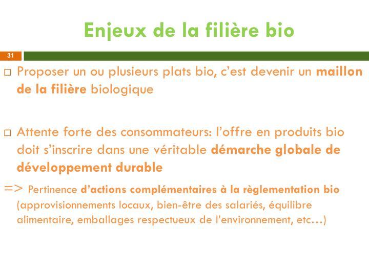 Enjeux de la filière bio