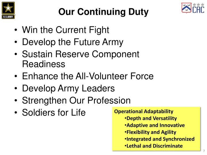 Our Continuing Duty