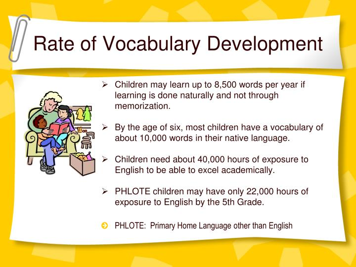 Rate of Vocabulary Development