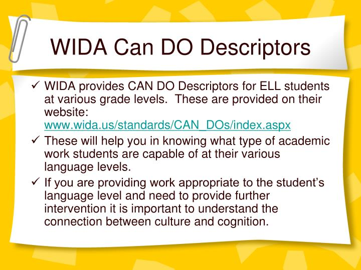 WIDA Can DO Descriptors