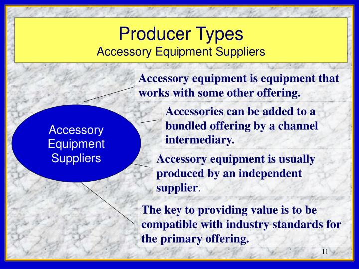 Accessory equipment is equipment that works with some other offering.