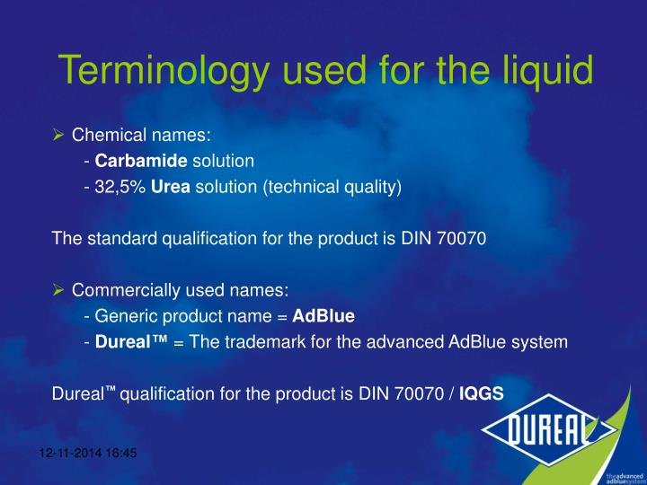 Terminology used for the liquid
