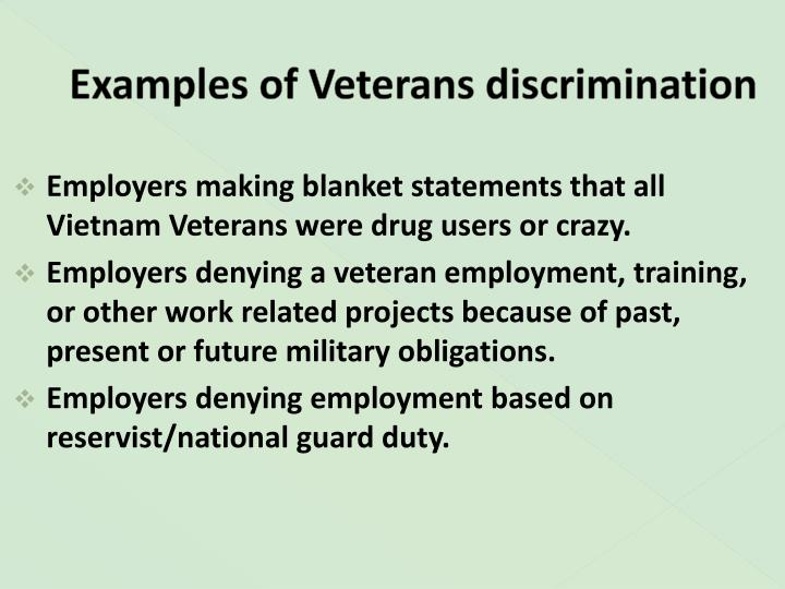 Examples of Veterans discrimination