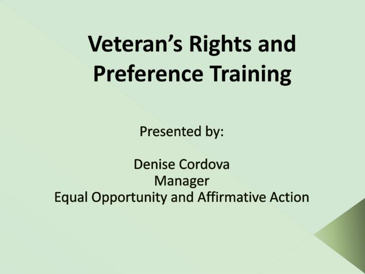 Veteran s rights and preference training